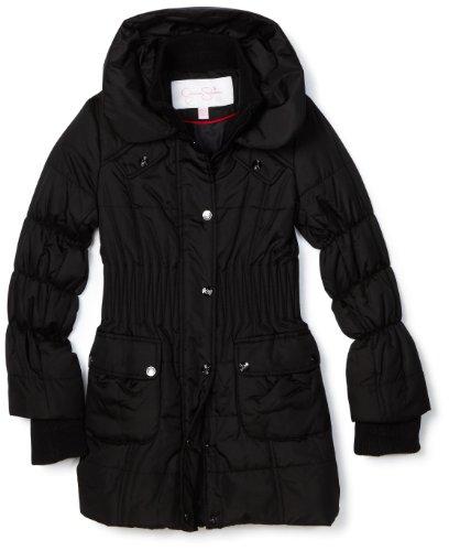 Jessica Simpson Coats Girls 7-16 Long Quilted Cinch Waist Jacket, Black, Medium