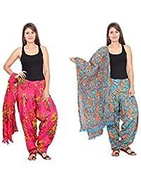 Rama Set Of 2 Floral Print Pink & Sky Blue Colour Cotton Full Patiala With Dupatta Set