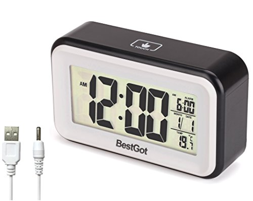 "BestGot 6"" Morning Alarm Clock Desktop Clock, Date and Temperature Light-activated Sensor Light and Touch-activated, Clock:Batteries/DC Charger,Alarm for daily/workdays (white Backlight)(Black/White)"