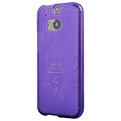 HTC All New One M8 (2014) Cruzerlite USA Bugdroid Circuit Case for CHTC All New One -Purple