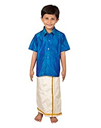 Thangamagan Boy's Shirt/Dhoty Regular Fit (Blue,Age : 4 to 5 Years)