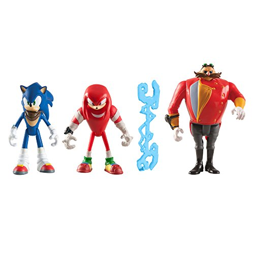 Sonic the Hedgehog - Set di 3 personaggi, Sonica, Knuckles e Eggmann (ca. 7,6 cm), e 3 carte Hero da collezione