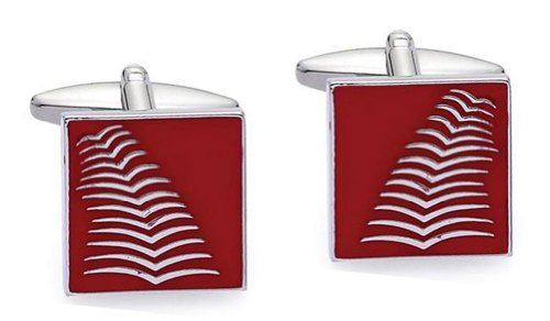 Code Red Base Metal Rhodium Plated with Red Enamel Cufflinks