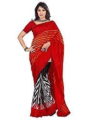 101cart Elegant Black,Red Printed Art Silk Saree