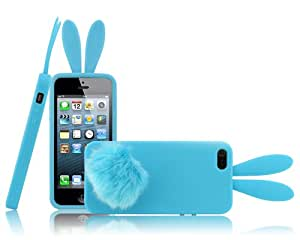 Soft Cute Rabbit Bunny Ear Silicone Case Bushy Tail Holder f iPhone 5 5G 5th Blue