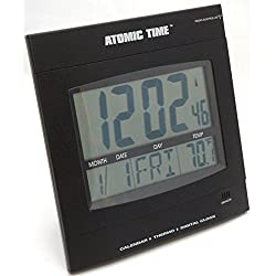 Time Tech Digital Wall Atomic Clock Thermostat Day/Date Temperature Large Font