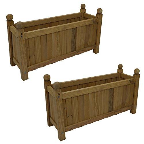 2-x-traditional-wooden-rectangular-planters-garden-plants-flowers-outdoor-natural-new