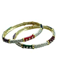 Sheetal Jewellery Silver & Golden Brass & Alloy Bangle Set For Women - B00TIH3YAY