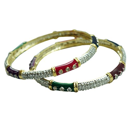 Sheetal Jewellery Silver & Golden Brass & Alloy Bangle Set For Women - B00TIH2XYC