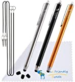 """Thin Tip Premium Stylus Pens - Bundle of 3 High Precision Universal Stylus Pens with 3 Replacement Tips and 2 x 15"""" Elastic Tether Lanyards - Stainless Steel and Aluminium - Retail Packaging (Orange/Black/Silver, 5.5-inch)"""