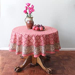 India Rose ~ Banquet Pink Floral Indian Round Tablecloth 90 round