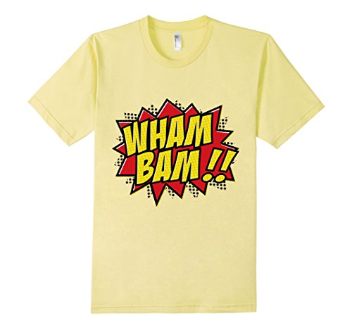 Mens-EmmaSaying-Wham-Bam-Pop-Art-Retro-Teen-Bazooka-Style-Shirt-Lemon
