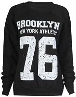 Fast Fashion - Sweatshirt Geek Brooklyn Boy Aigle Impression - Femme (EUR (36-38), Brooklyn - Noir)