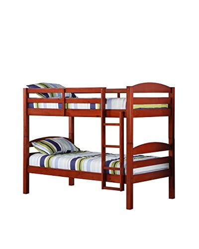Walker Edison Twin Solid Wood Bunk Bed, Cherry