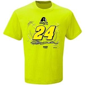 Jeff Gordon NASCAR #24 Adult Axalta Caution T-Shirt - Neon Green by NASCAR