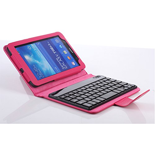 Infiland Folio Pu Leather Bluetooth Keyboard Case Cover For Samsung Galaxy Tab 3 Lite 7.0 7'' T110 Folio Slim Pu Leather Case With Magnetically Detachable Wireless Removable Bluetooth Keyboard (Samsung Galaxy Tab 3 Lite 7.0 7'' T110, Magenta)