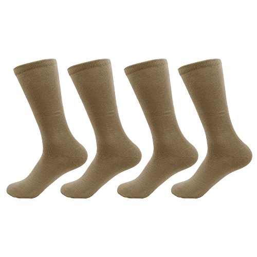 BambooMN - Men's Medium/Large Rayon from Bamboo Fiber Socks - Taupe - 4prs, Size 6-10 Taupe Mens Socks