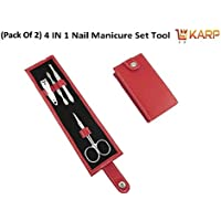 (Pack Of 2) KARP High Quality 4 Pcs Portable Stainless Steel Nail Art Manicure Set Travel Mini Nail Cutter Manicure... - B01JROLTBS