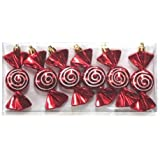 Queens Of Christmas WL-ORN-6PK-SWL 6 Pack Candy Ornament With Spiral Design, Red/White