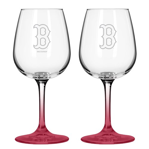 Mlb Boston Red Sox Satin Etch 2-Ounce Wine Glass (Pack Of 2)