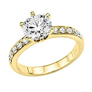 GIA Certified 14k yellow-gold Round Cut Diamond Engagement Ring (1.83 cttw, J Color, VS1 Clarity)