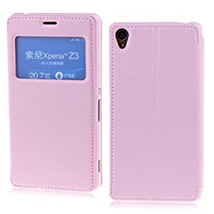 Pink Deluxe View Window Wallet Leather Flip Folio Magnetic Skin Tpu Case Cover Card Slots for Sony Xperia Z3 D6653 L55