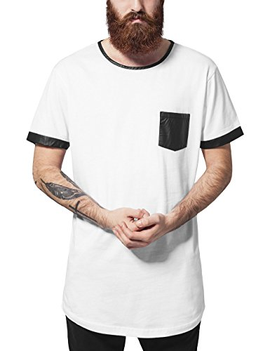 Urban Classics Long Shaped Leather Imitation Tee, T-Shirt Uomo, Mehrfarbig (Wht/Blk 224), Large