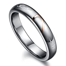 """buy Opk Jewelry Tungsten Carbide His And Hers Matching Setting""""Real Love"""" Couple Wedding Rings Engagement Bands,Women Size 9"""