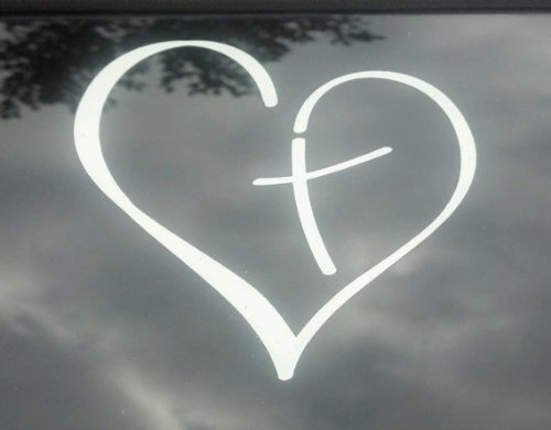 Heart with Cross in Center Decal Sticker Vinyl for Car Auto Christian 3.5