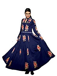 OMSAI FASHION Women's blue Georgette Embroidery semi stitched Free Size Salwar Suit Dress Material (Women's Honey Blue Indian Clothing )