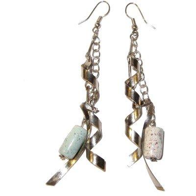 Jasper Earrings 08 Dangle Picture Silver Spiral Long Chain Green Crystal Healing Gemstone 4
