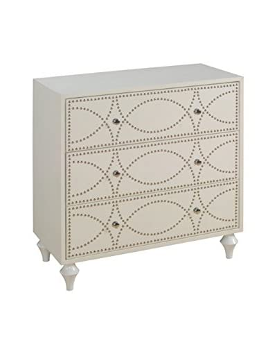 Coast to Coast Nailhead Trim 3-Drawer Chest, White