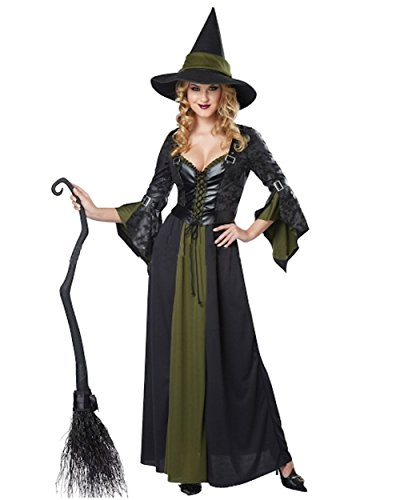 [Cohaco Women's Elegant Witch Costume (Black/Green)] (Classic Black Witch Costumes)