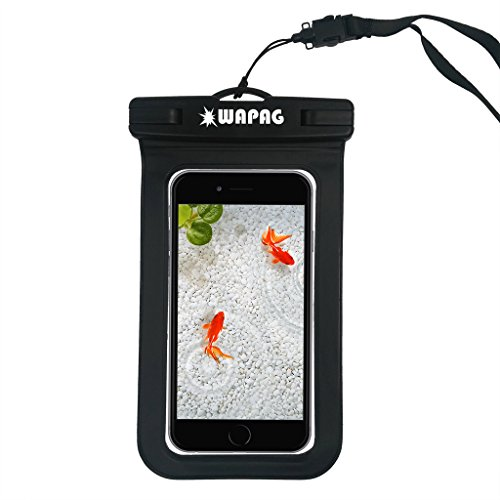 WAPAG Waterproof Bag Case Pouch for iPhone 6s, 6, 6 Plus, 5s, Samsung Galaxy s6, s6 Edge, s5, s4, Note 4, Cell Phone up to 6 inches, Dirt/Snow/Dust Proof, Fits Swimming, Kayaking, IPX8 - Black