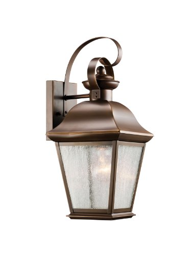 Kichler Lighting 9708Oz Mount Vernon 1-Light Outdoor Wall Mount Lantern, Olde Bronze With Etched Seedy Glass