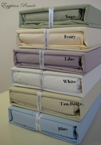 Solid Ivory Percale King Size Sheet Set 100 % Egyptian Cotton (Deep Pocket) 300 Thread Count By Sheetsnthings front-1025442