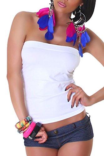 Damen Bandeau Top, Shirt-Oberteil mit Spitze in Einheitsgröße (34 bis 40)