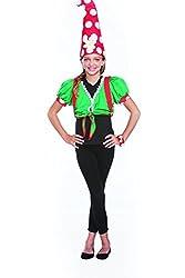 Halloween Wholesalers Girl's Toadstool Gnome-Medium/Long Black & Green
