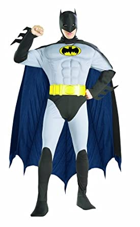 Rubie's Costume DC Comics Adult Deluxe Muscle Chest The Batman, Gray, Small Costume
