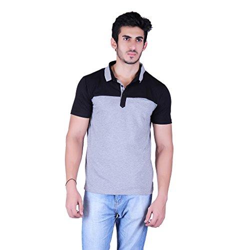 Vivid-Bharti-Mens-Check-black-Grey-Cotton-2-color-half-sleeve-T-Shirt-Premium-Quality-T-Shirt