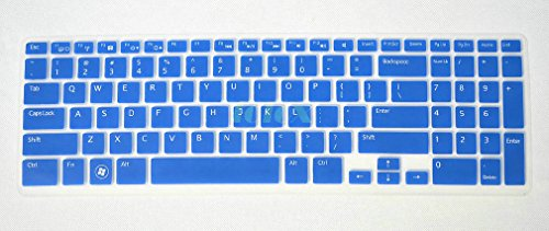 Folox Colorful Soft Keyboard Protector Cover Skin For Dell New Inspiron 15R N5110 M511R M5110 M531R 15R-5521 15R-5537 15R-3537 15R-3521 15Vd-4516 Ins15Rd-4728 (Blue)