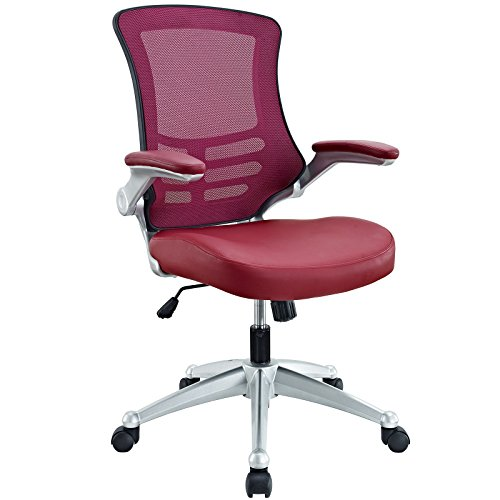 LexMod Attainment Office Chair with Burgundy Mesh Back and Leatherette Seat