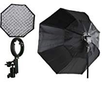 """Off Camera Flash Softbox Pro 48"""" Octagon Soft box Studio Photography Honeycomb Grid Softbox with Flash Mounting for Nikon Canon Flashes LBW8120GD"""