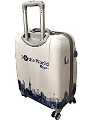 "Tramp & Badger 100% Polycarbonate, I Travel The World My Style Printed Pattern Trolley Bag- White (Size-24"" Cabin..."