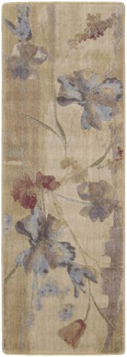 Nourison Zanibar Beige Watercolor 2.0-Feet by 2.9-Feet Polyacrylic Area Rug