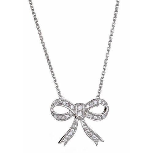 CZ Bow Necklace 18