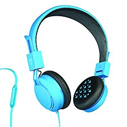 JLab INTRO Premium On-Ear Headphones with Universal Mic, Blue