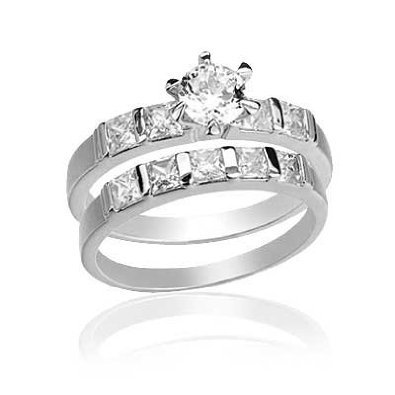 5mm-Round Cut Center Stone CZ Wedding Ring Set-
