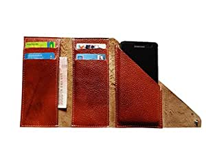 ATV Brown Genuine Leather Designer Tri-Fold Case Cover Pouch For SAMSUNG GALAXY J1