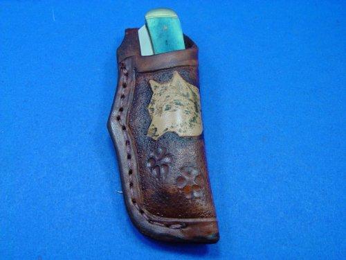 "Custom Leather Knife Sheath For A 4"" Trapper Pocket Knife. Knife Not For Sale!"